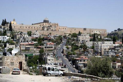 רחוב ואדי חילווה בסילוואן ומבט לעיר העתיקה