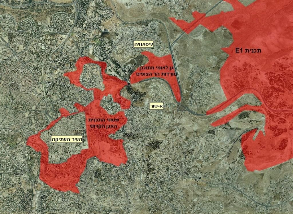 מפת גנים לאומיים עם E1 (Medium)