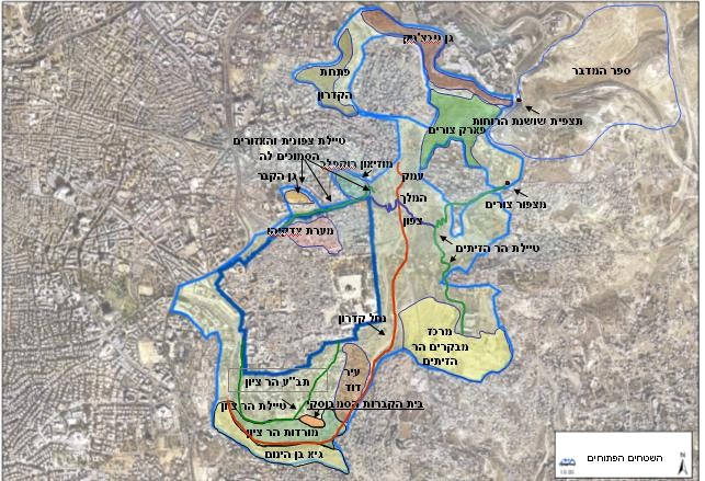 מפת תכנית גנים לאומיים-ירושלים